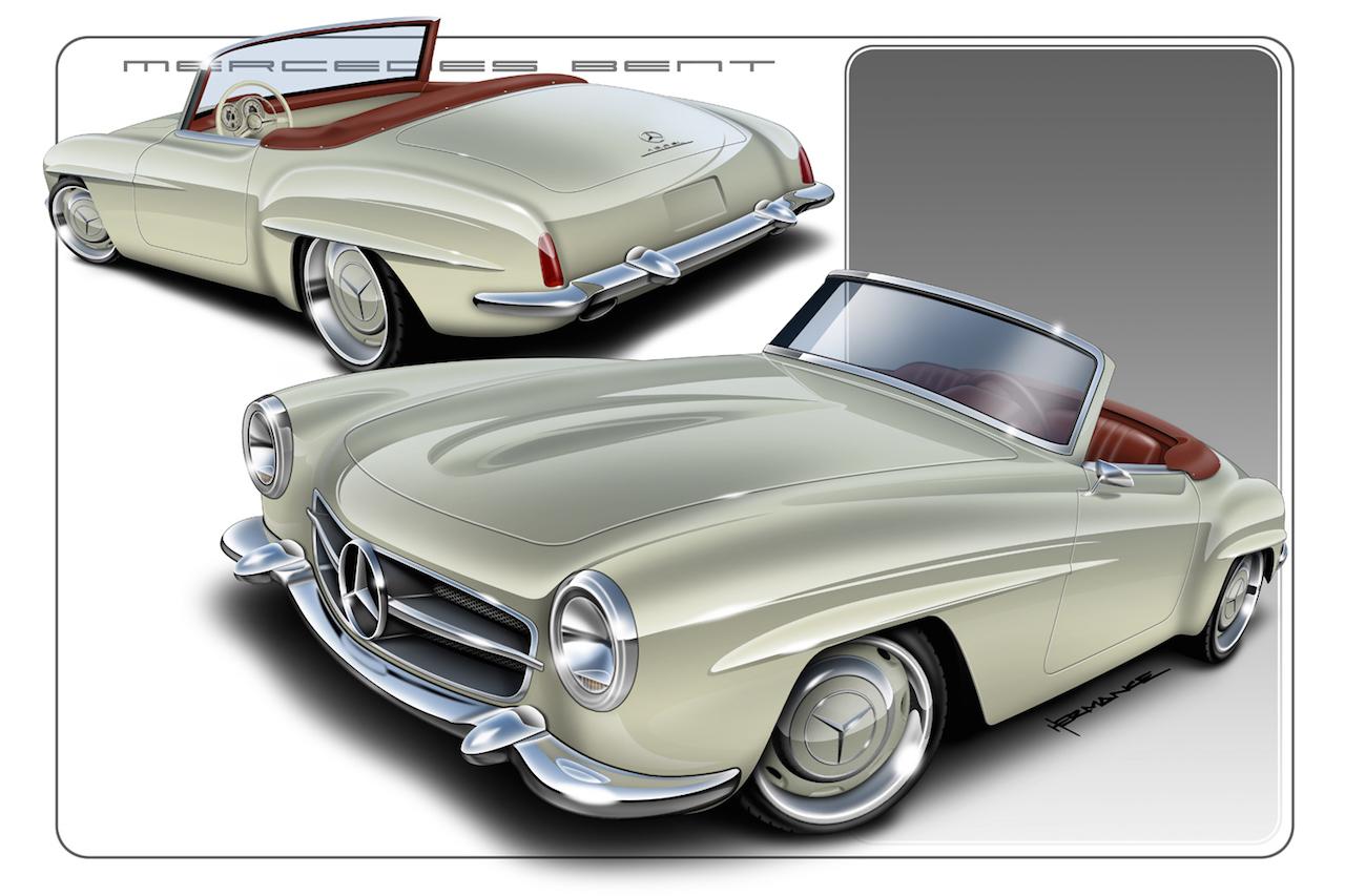 """'61 Mercedes 190 SL... La """"Mercedes Bent"""" un peu spéciale ! 1"""